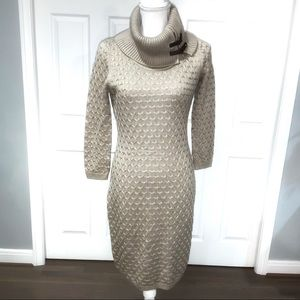 📁Sweater Dress by Calvin Klein, Cowl neck Taupe S